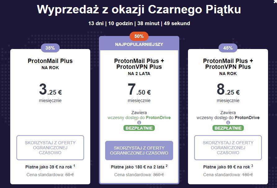 50 % zniżki na konto ProtonMail Plus