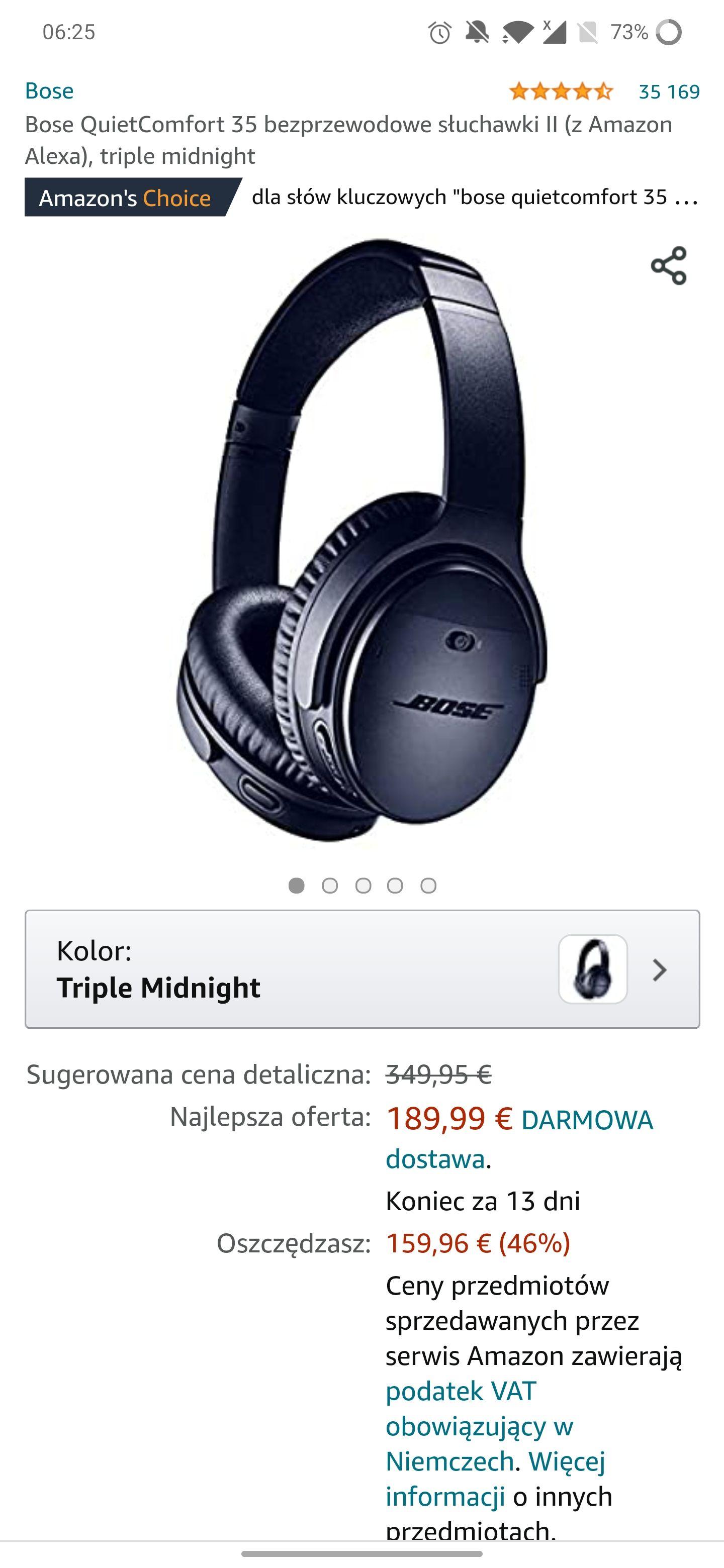 Słuchawki Bose QuietComfort 35 201.45 euro
