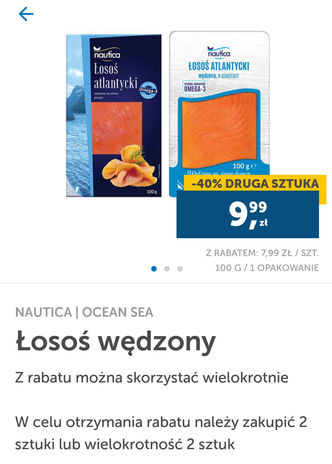 Lidl Łosoś wędzony drugie opakowanie -40%