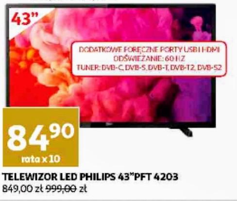 "Telewizor Philips 43"" PFT4203 LED 1920x1080, TV Full HD, oferta z okazji 10 Urodziny Auchan Hipermarket Gliwice"