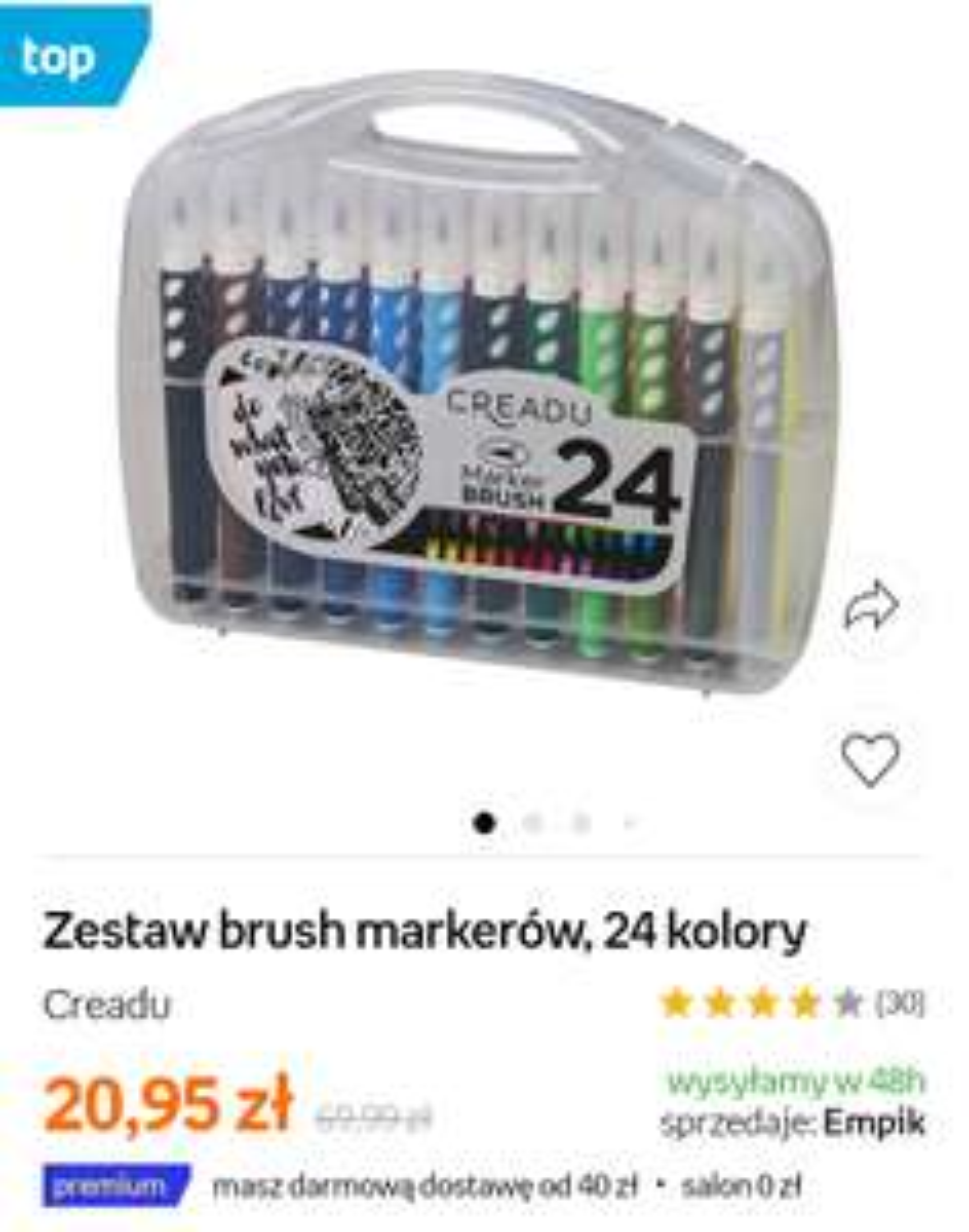 Zestaw Brush Markerów Creadu 24 Kolory @Empik