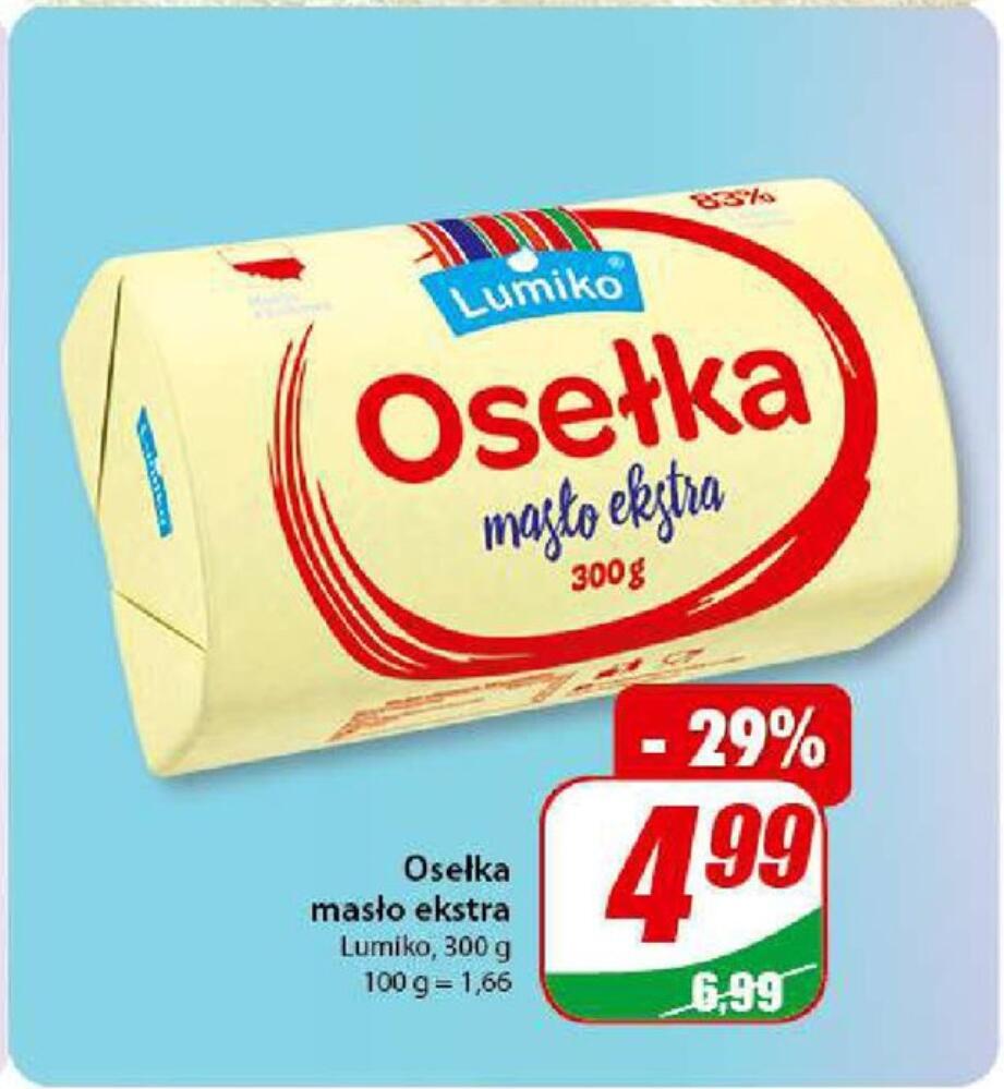 Masło ekstra lumiko osełka w Dino 300g za 4,99 PLN