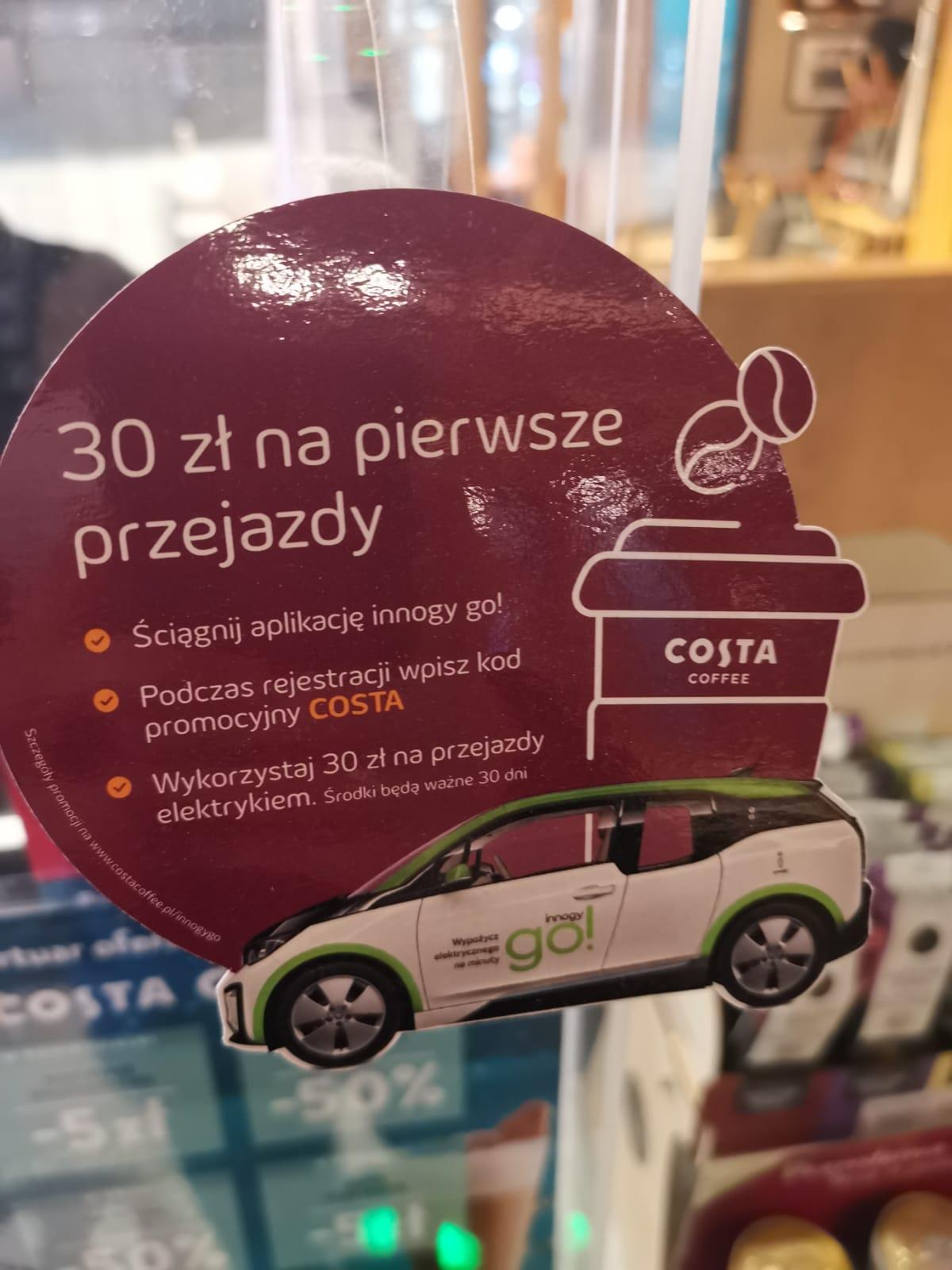 Otrzymaj za darmo 30 zł z COSTA na przejazdy elektrykami innogy go