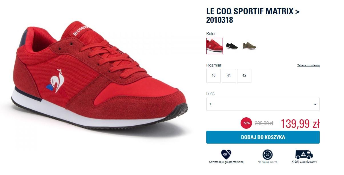 Buty Le Coq Sportif do 60% taniej
