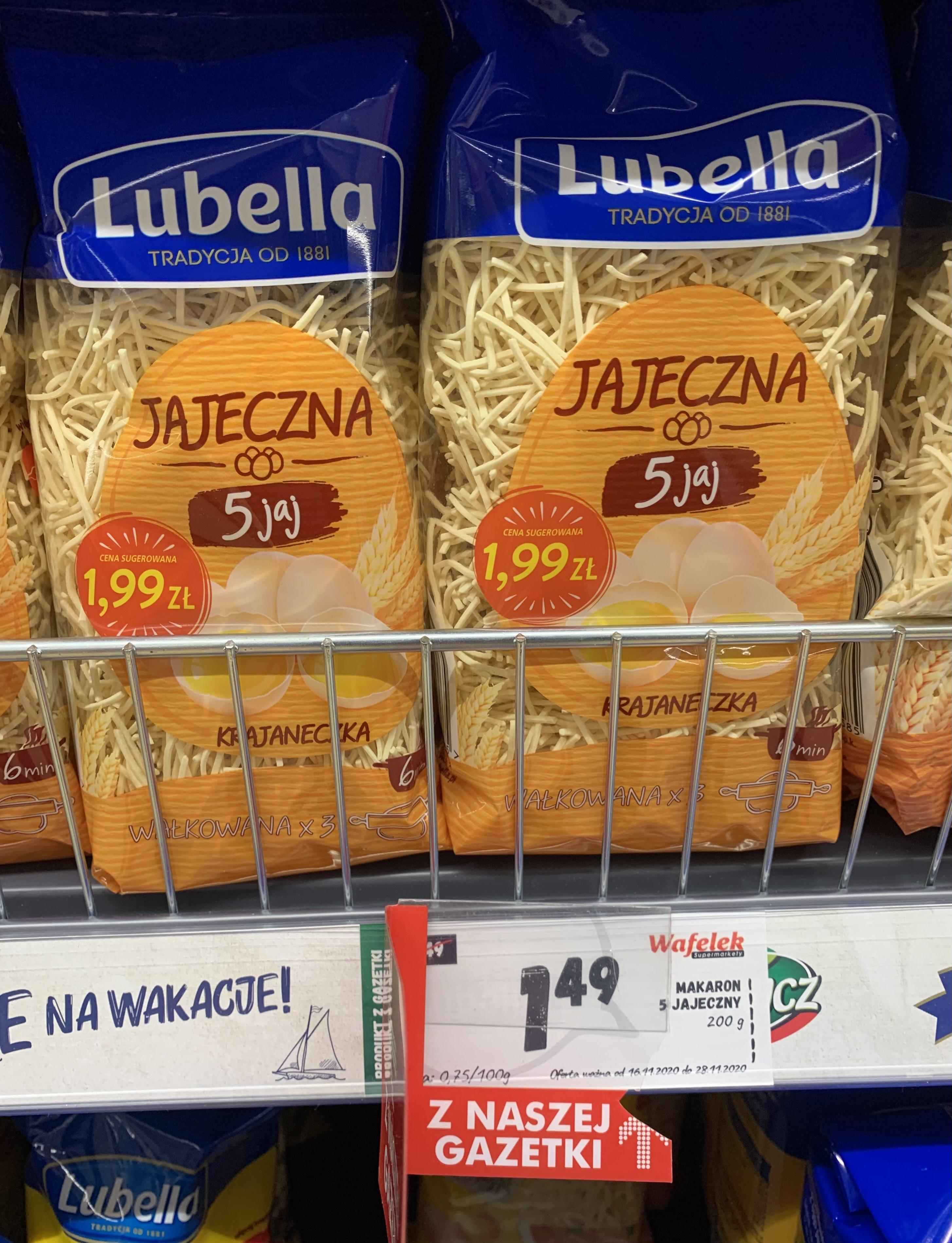 Makaron 5 jajeczny Lubella 200g sklep Wafelek Sędziszów