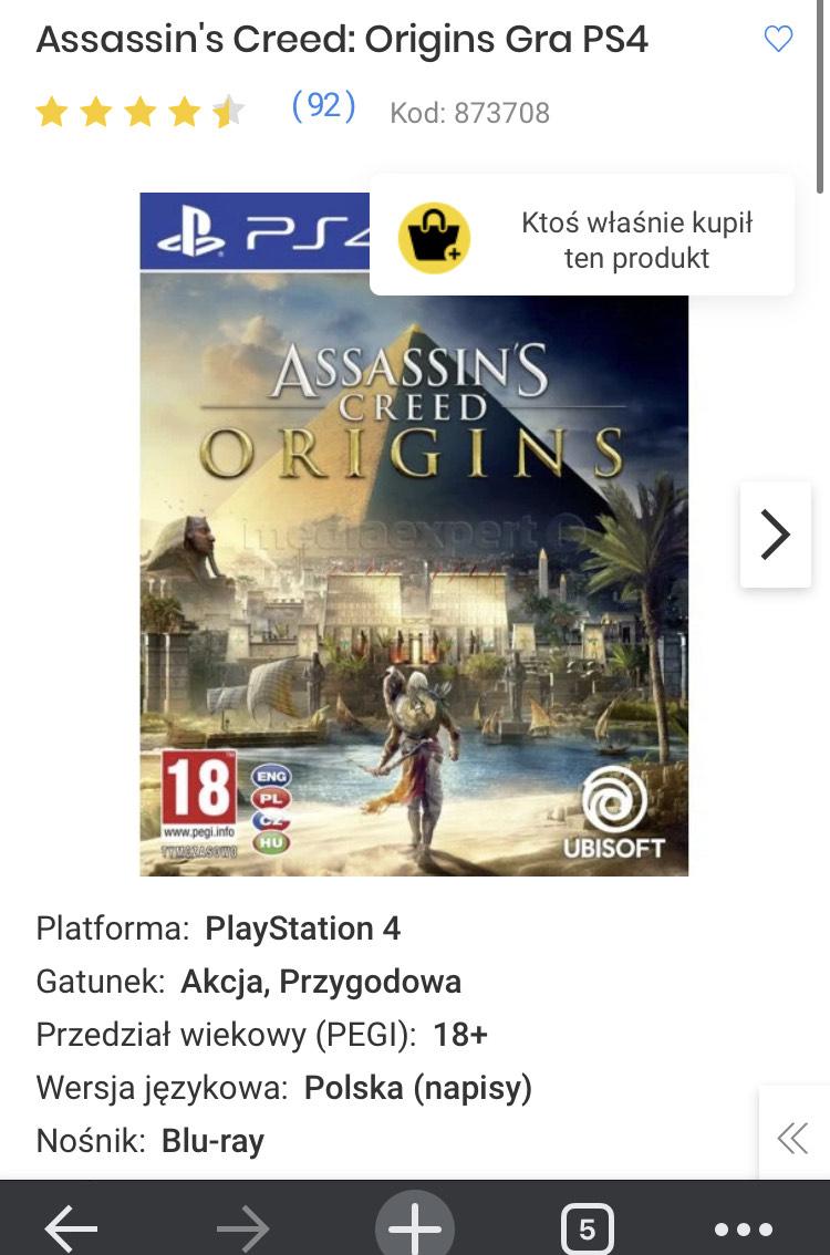 Assassin's Creed: Origins Gra PS4