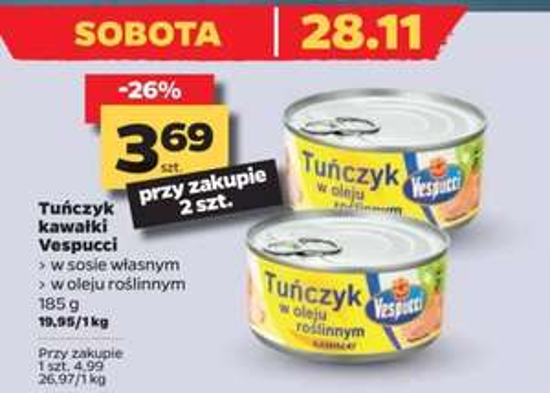 Tuńczyk kawałki w sosie własnym i oleju 185g (cena przy zakupie dwóch) w Netto