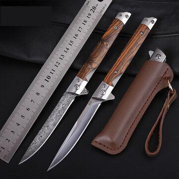 Xanes M390 składany nóż - 21,5cm , drewniana rękojeść, skórzane etui @ banggood