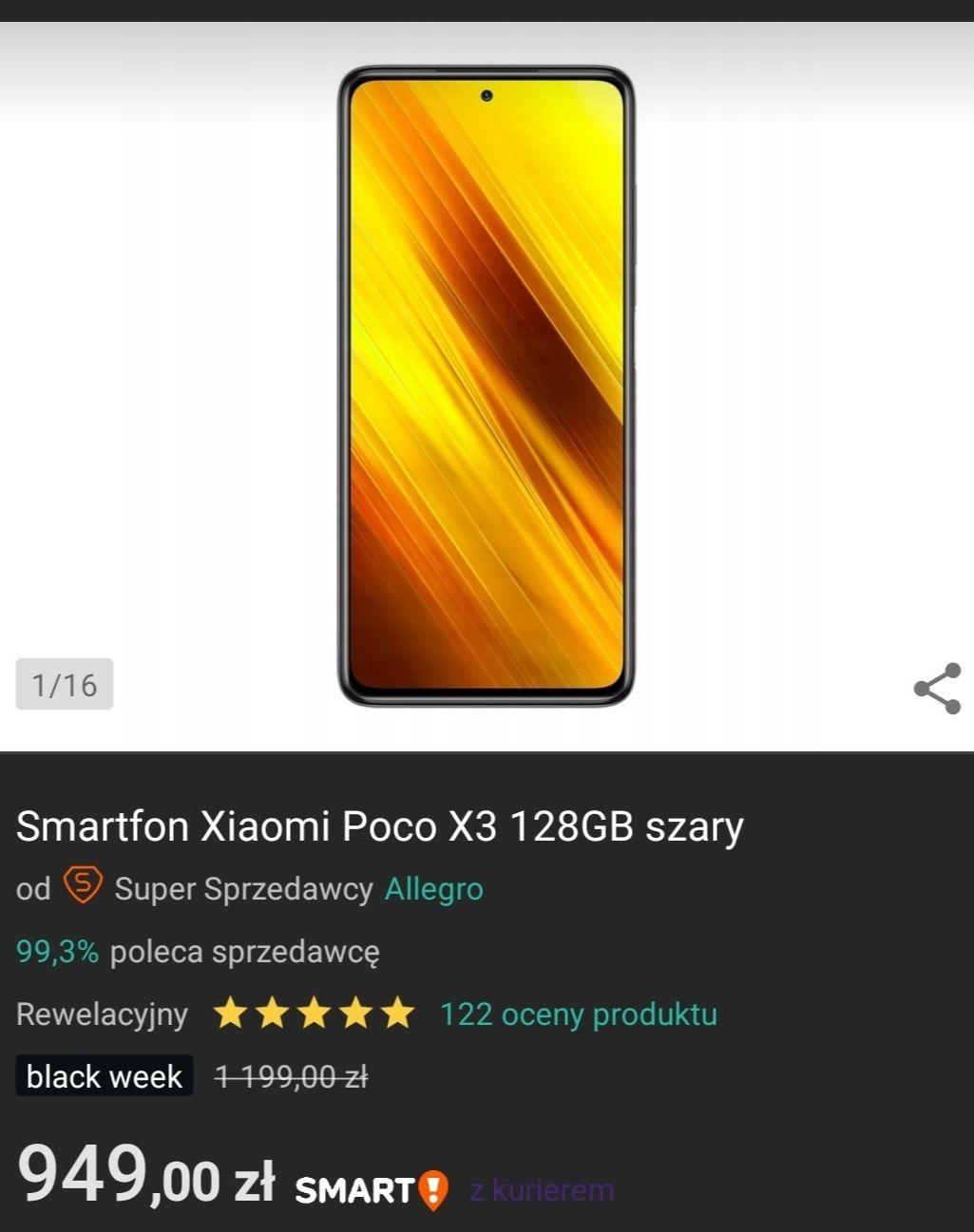 Smartfon Xiaomi Poco X3 128GB szary allegro na Black friday - dostepny od 30 listopada