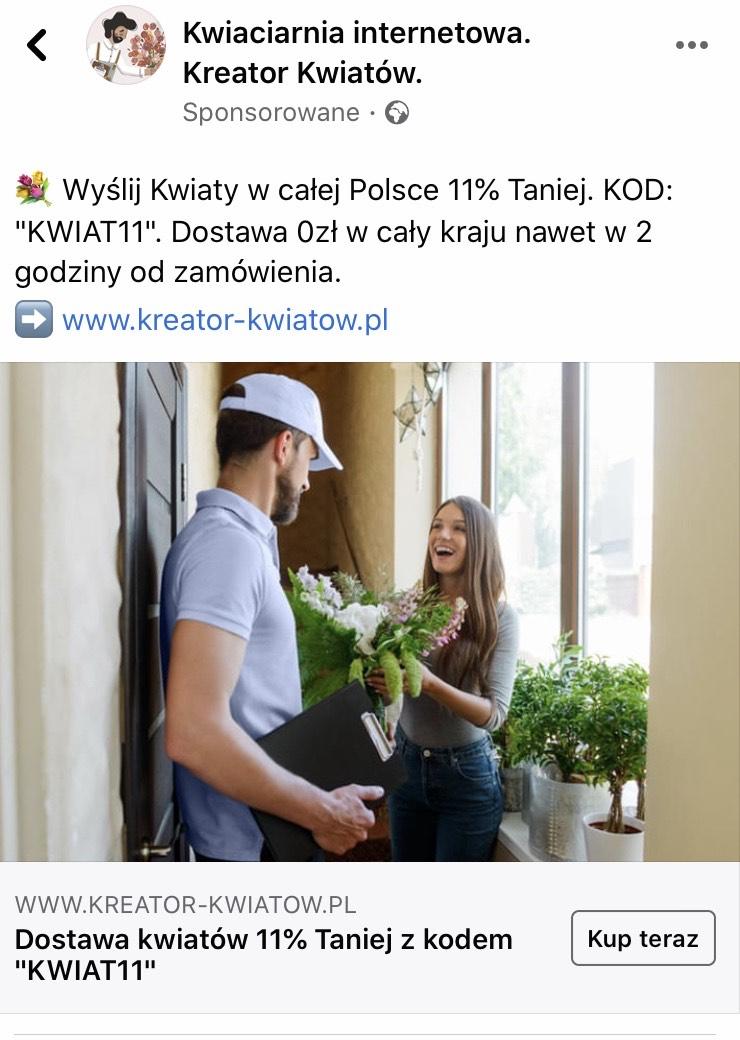 Kwiaty z dostawą w całej Polsce 11% taniej.
