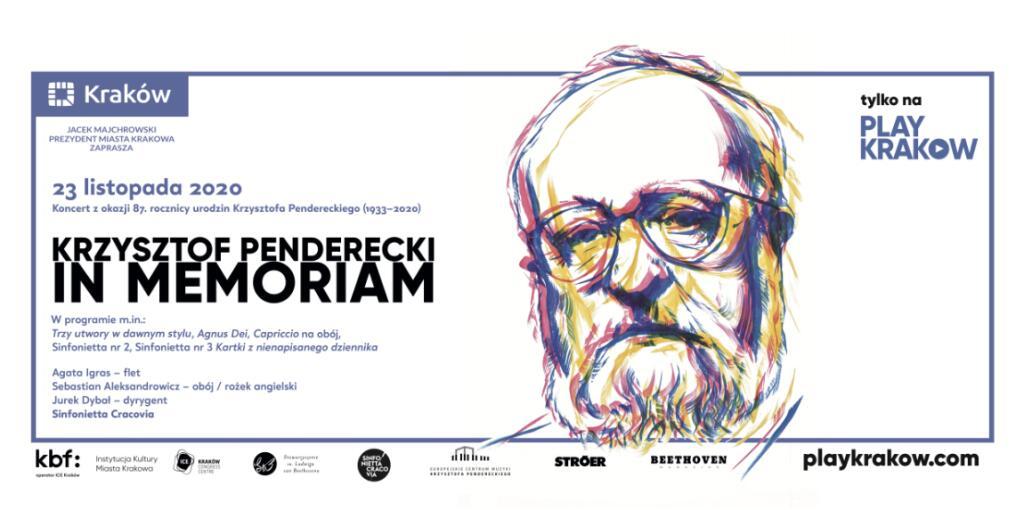 Krzysztof Penderecki in memoriam – koncert online 23.11 g.19:00 Simfonietta Cracovia