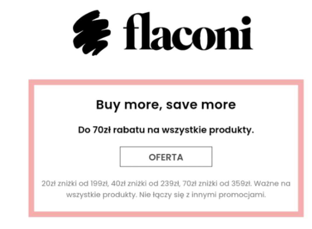 Flaconi 20/40/70PLN zniżki przy zakupach 199/239/359PLN