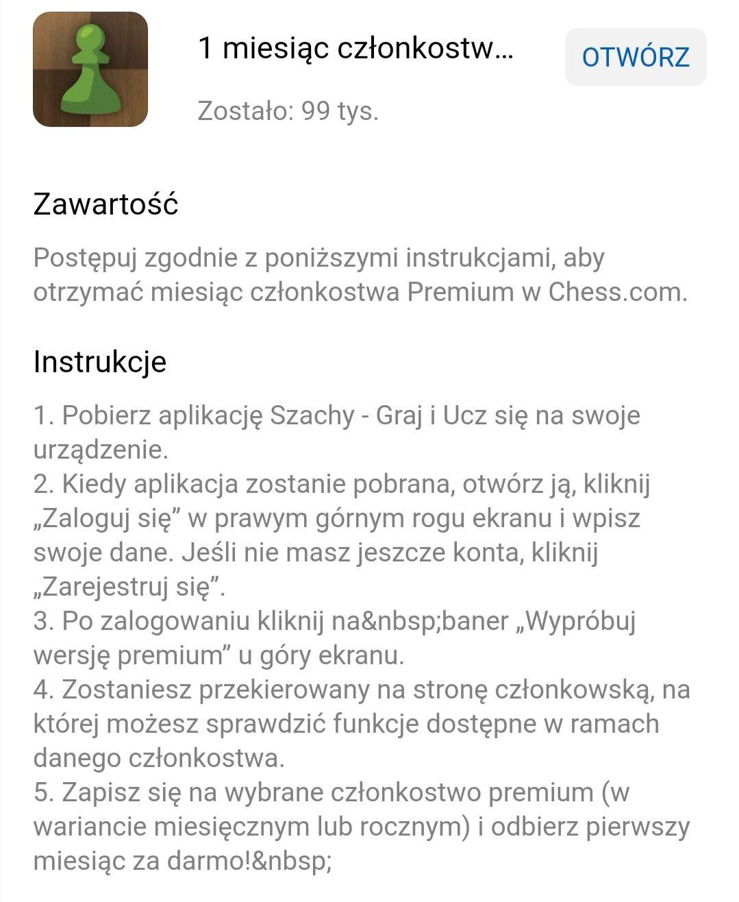 Szachy - chess.com - Darmowe konto premium przez miesiąc
