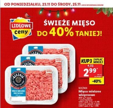 Mięso mielone wieprzowe Rzeźnik 2,99zł/400g przy zakupie 3 - Lidl