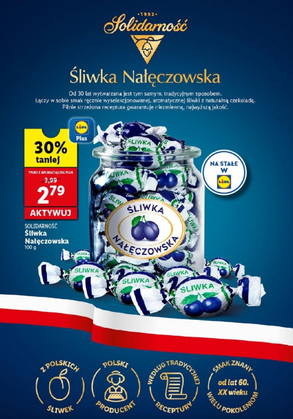 Śliwka Nałęczowska Solidarność 2,79 zł. za 100g w Lidl