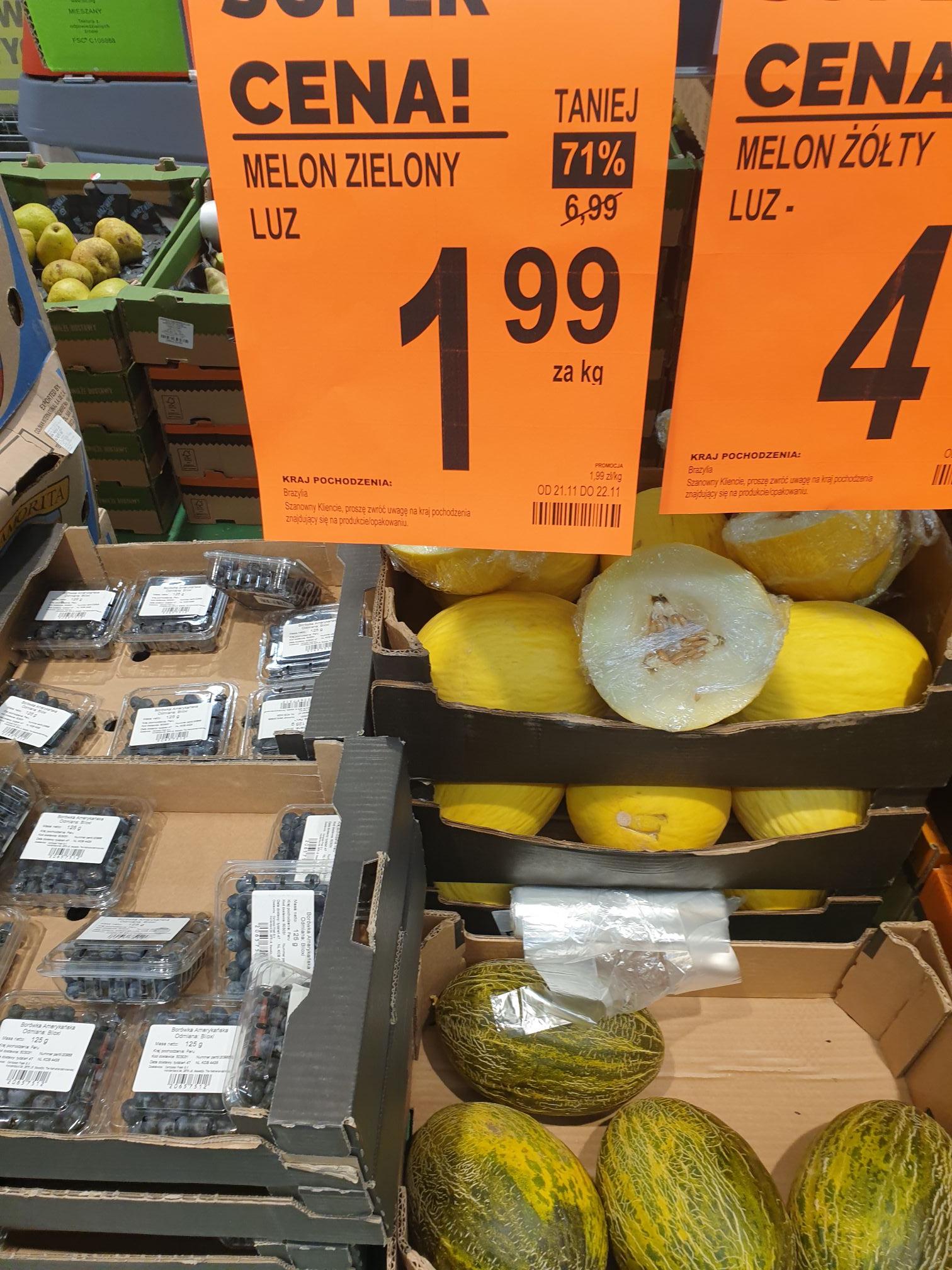 Melon zielony po 1.99zł za kg Biedronka Bytom