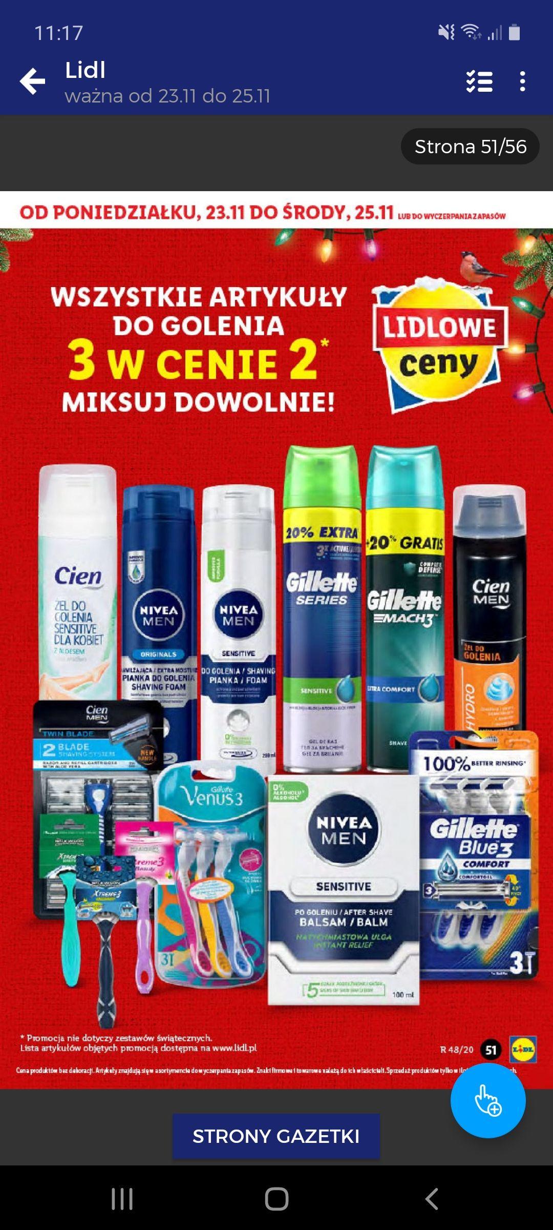 Artykuły do golenia 3 w cenie 2 w Lidlu