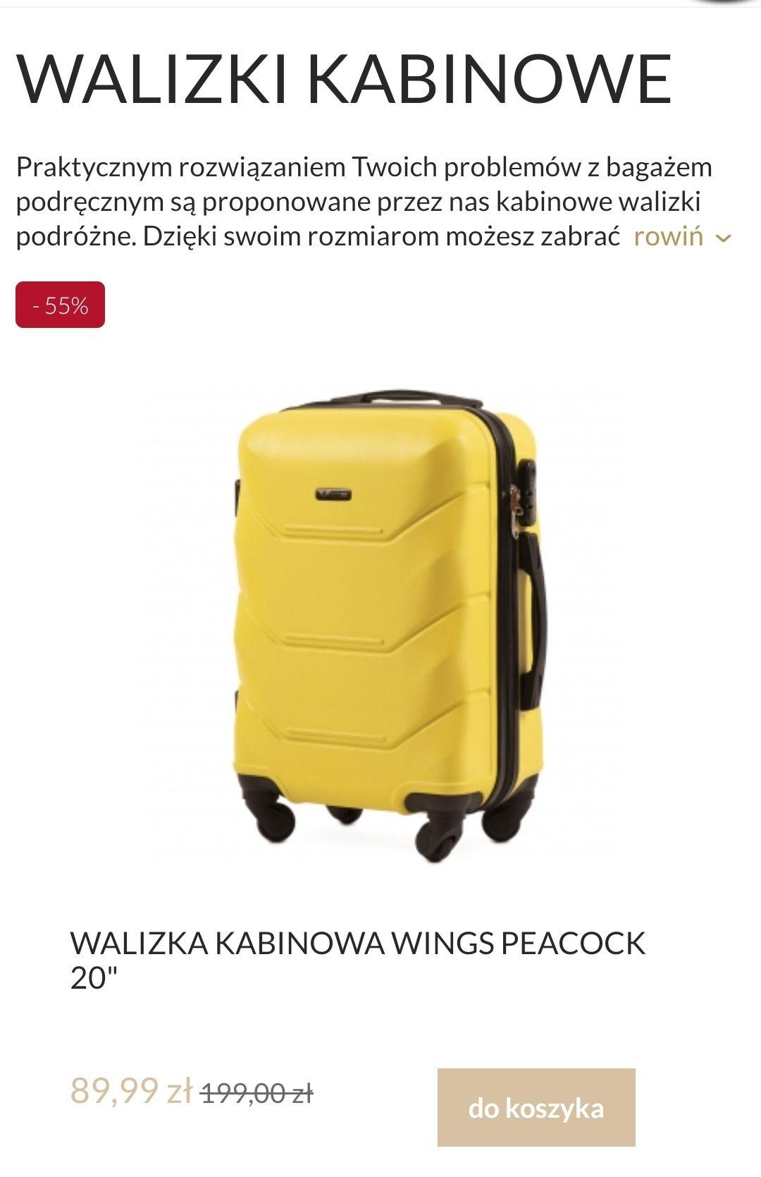 Walizki Wings kabinowa i nie tylko, różne kolory i rozmiary