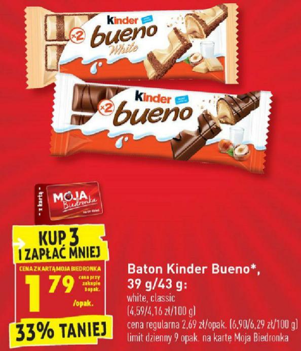 Baton Kinder Bueno. Kup 3 i zapłać mniej. Biedronka