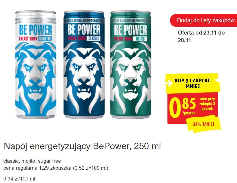 Energetyk BE POWER 250ml przy zak 3szt z kartą - Biedronka