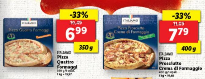 Pizza Quattro Formaggio / Prosciutto Crema di Formaggio / Lidl