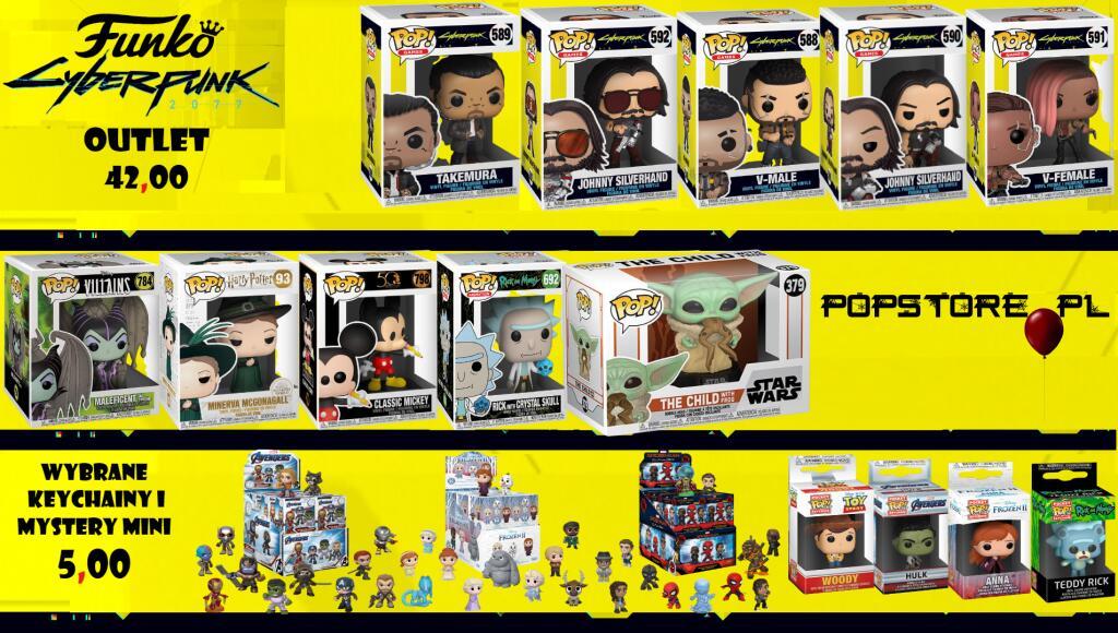Figurki POP Cyberpunk 2077 za 42, Breloki za 5 zł Kraina Lodu, Marvel, Disney
