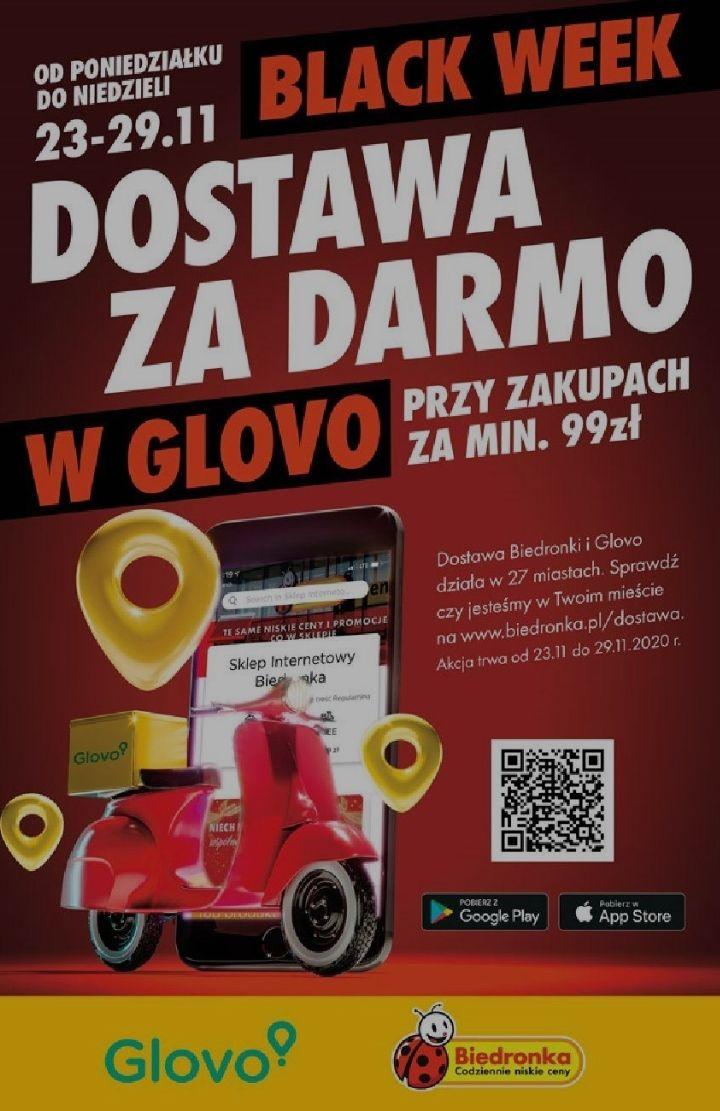 Darmowa dostawa z glovo przy MWZ 99zł @ Biedronka
