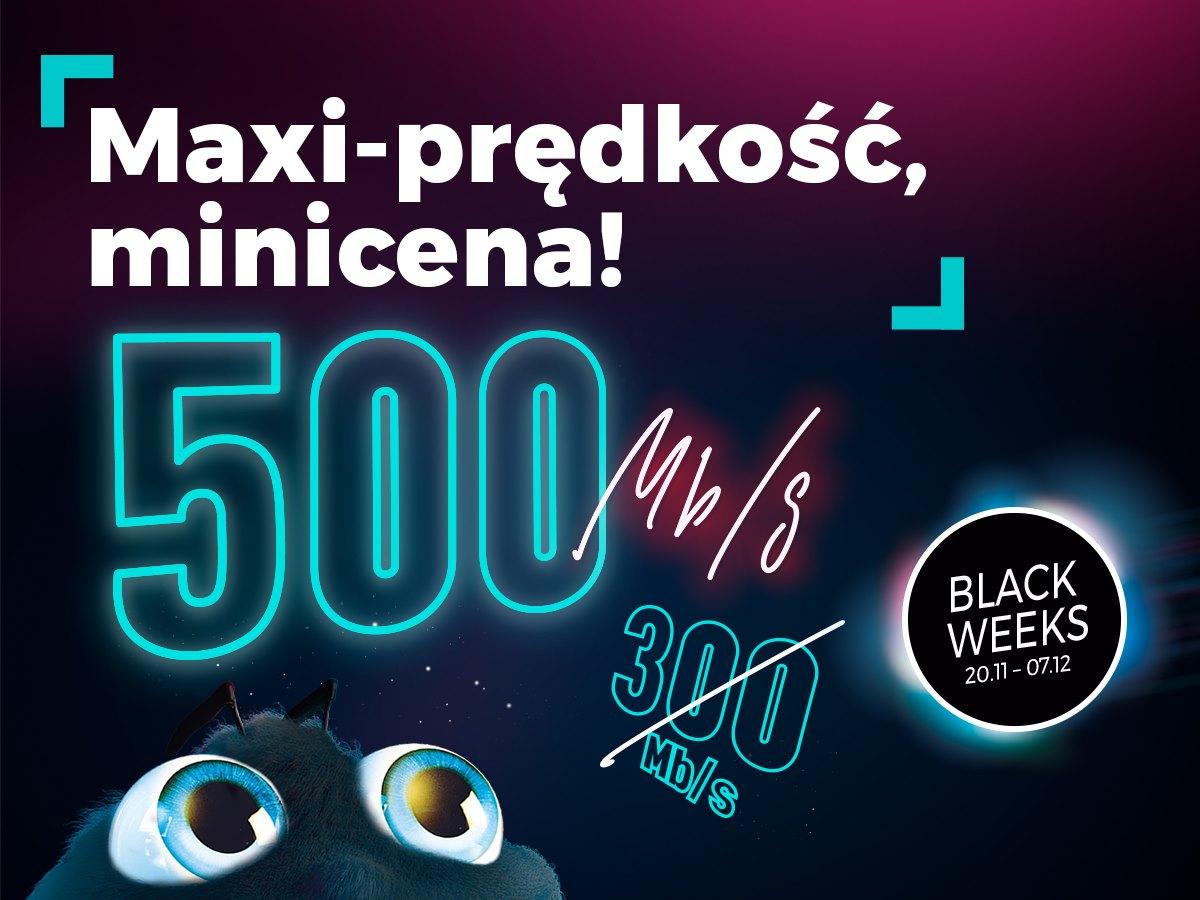 Netia - Internet 500Mb/s w cenie 300Mb/s 1Gb/s w cenie 500Mb/s na Black Weeks