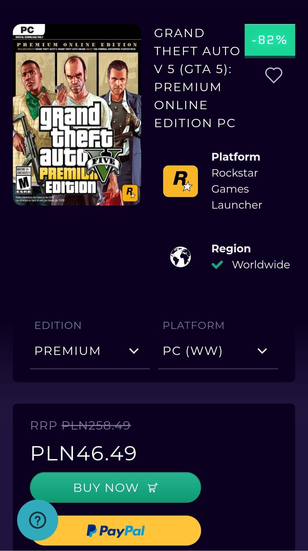Gra GTA V na PC za 46,49 (Digital)