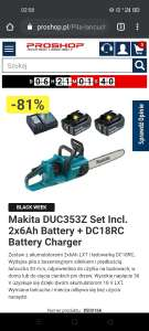 Makita DUC353Z Set Incl. 2x6Ah Battery + DC18RC Battery Charger