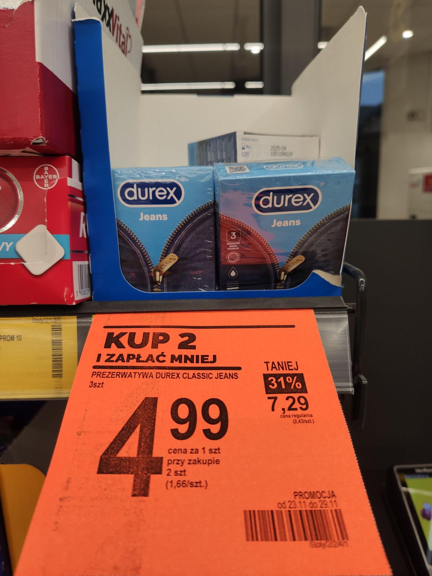 Prezerwatywy Durex Jeans 4,99/opakowanie przy zakupie dwóch opakowań