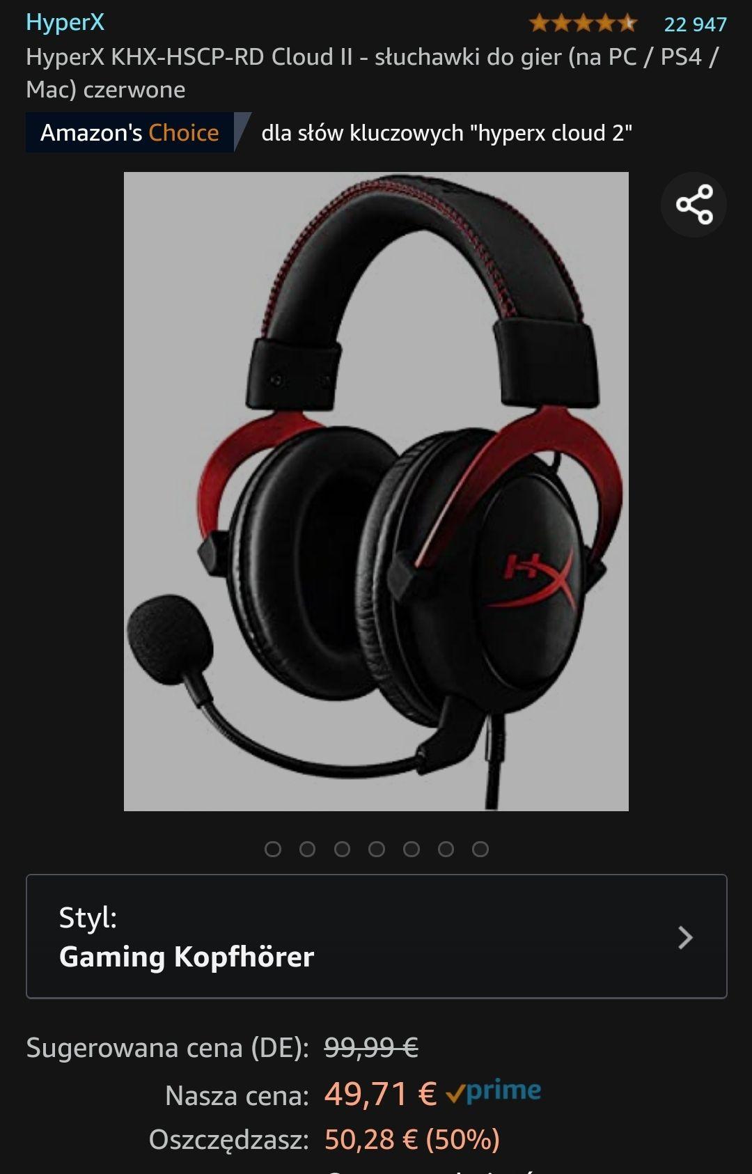 Słuchawki HyperX KHX-HSCP-RD Cloud II