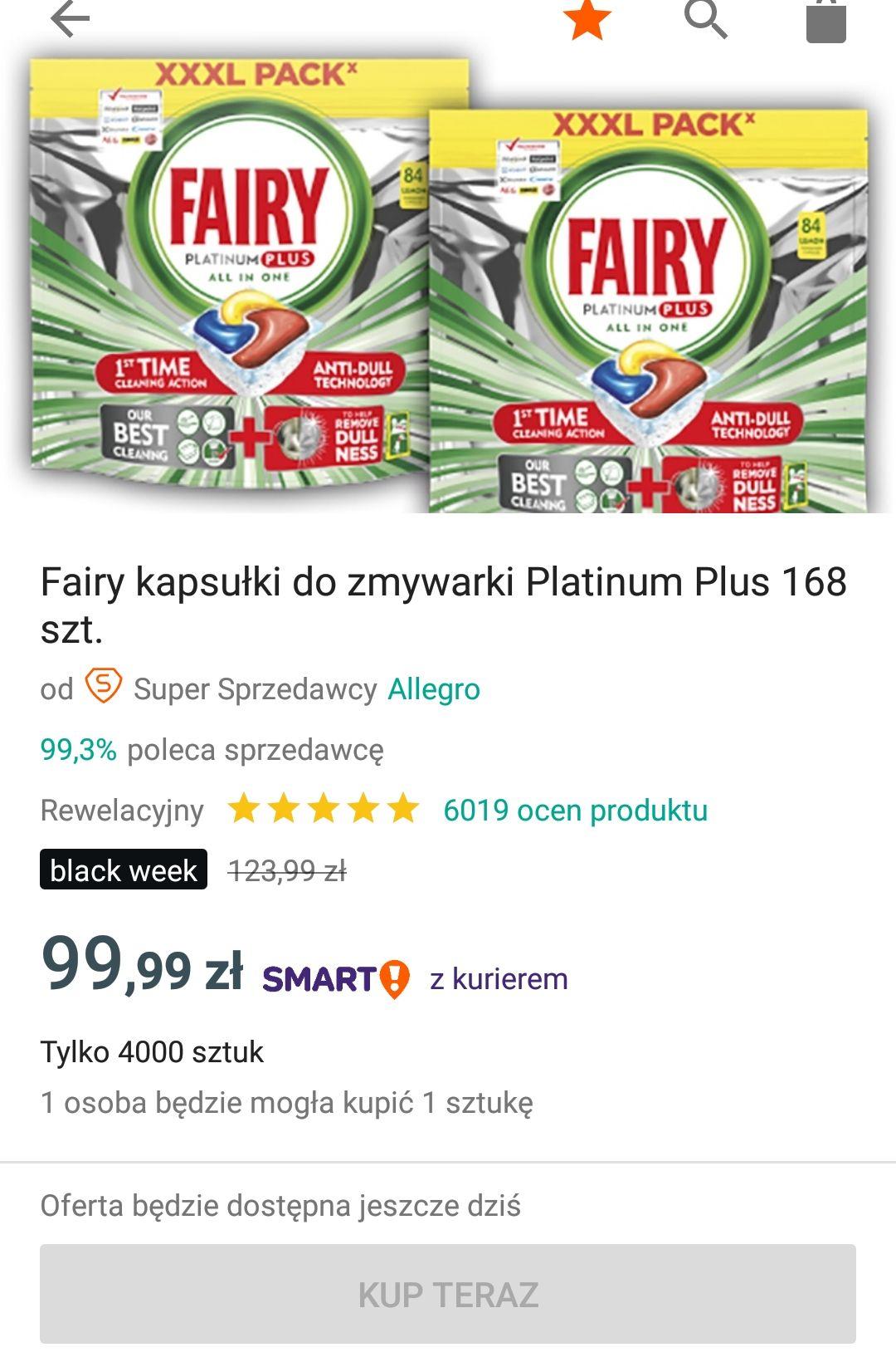 Kapsułki Fairy Platinum Plus 168szt. na Allegro