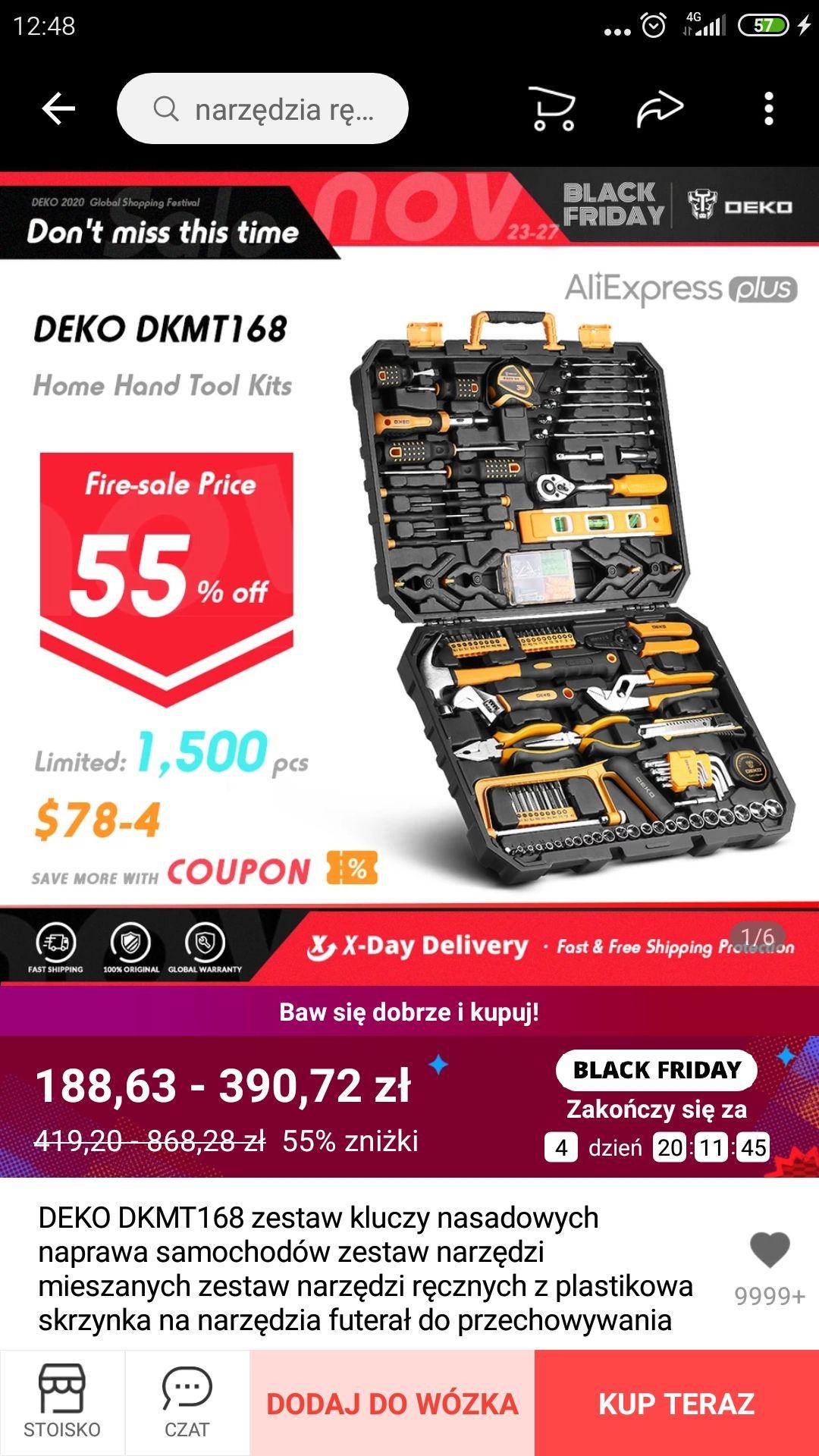 Zestaw narzędzi DEKO 168 elementów Aliexpress 47,32$