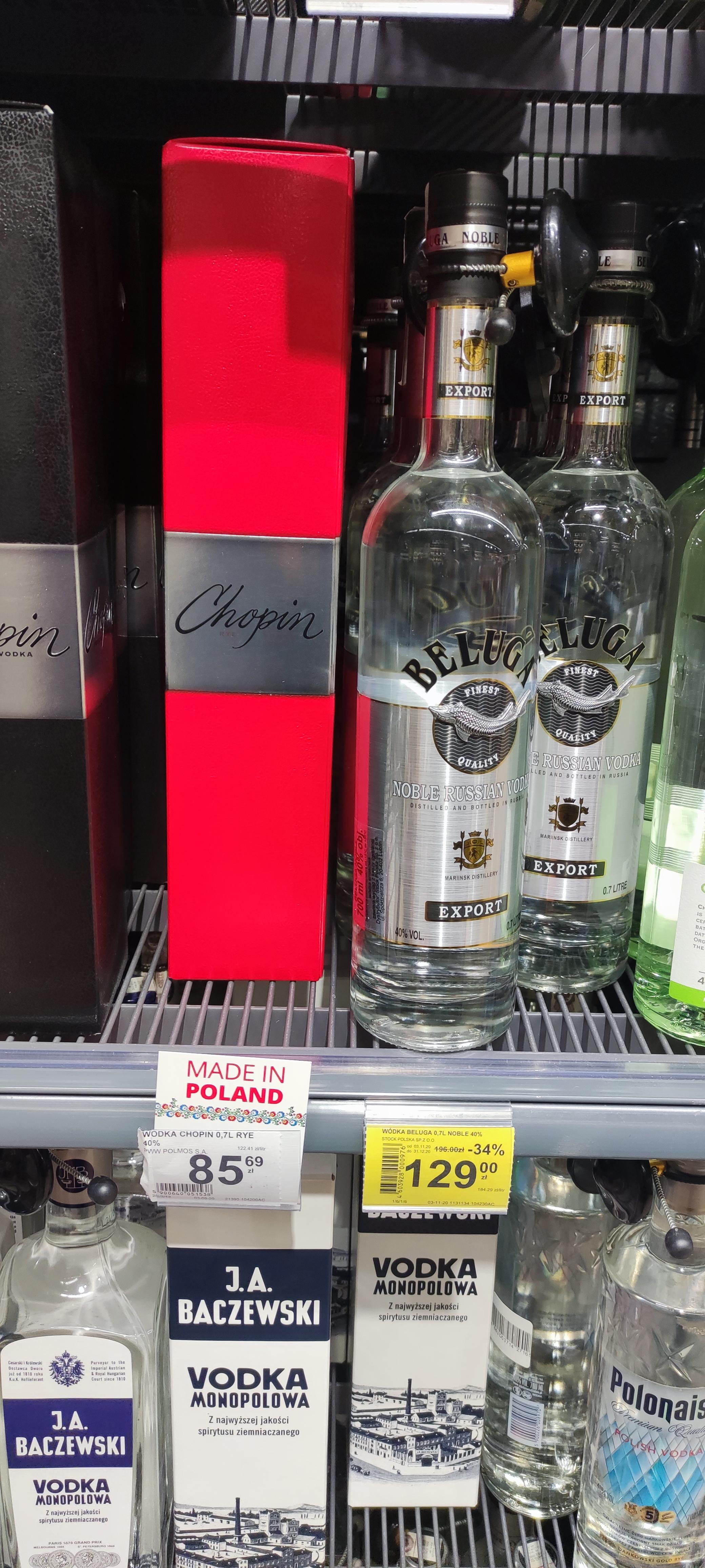 BELUGA NOBLE RUSSIAN VODKA EXPORT 0,7L Carrefour Wrocław