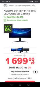 """Monitor Xiaomi mi 34"""" 144Hz 4ms LED CURVED Gaming"""