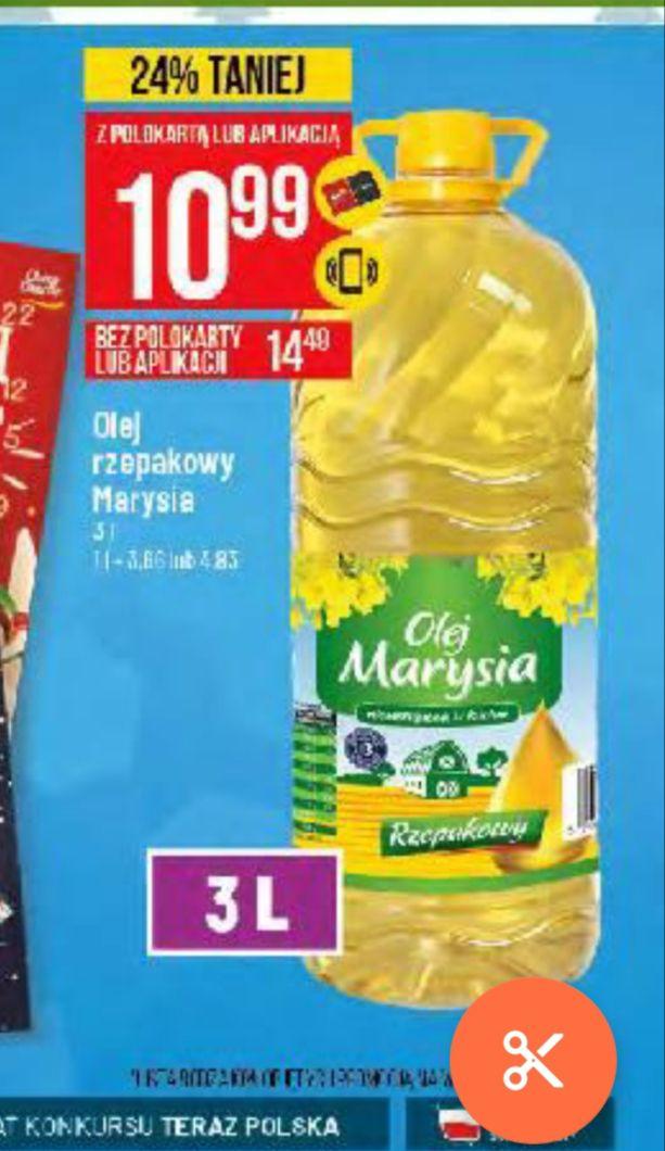 Olej rzepakowy Marysia 3 litry za 10.99. 3.66/litr. Polomarket.