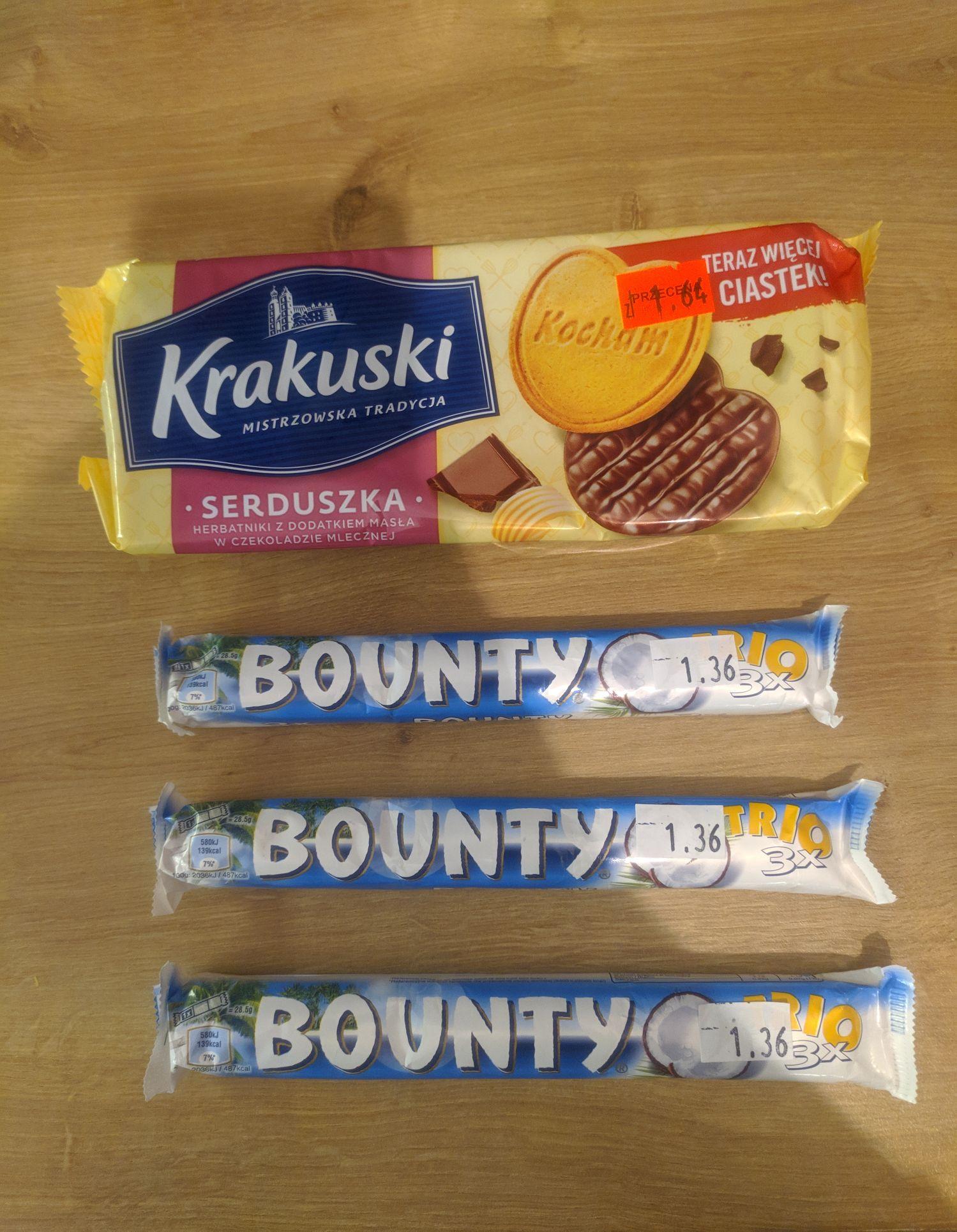 Bounty trio 85g, Krakus Serduszka 171g - Rossmann