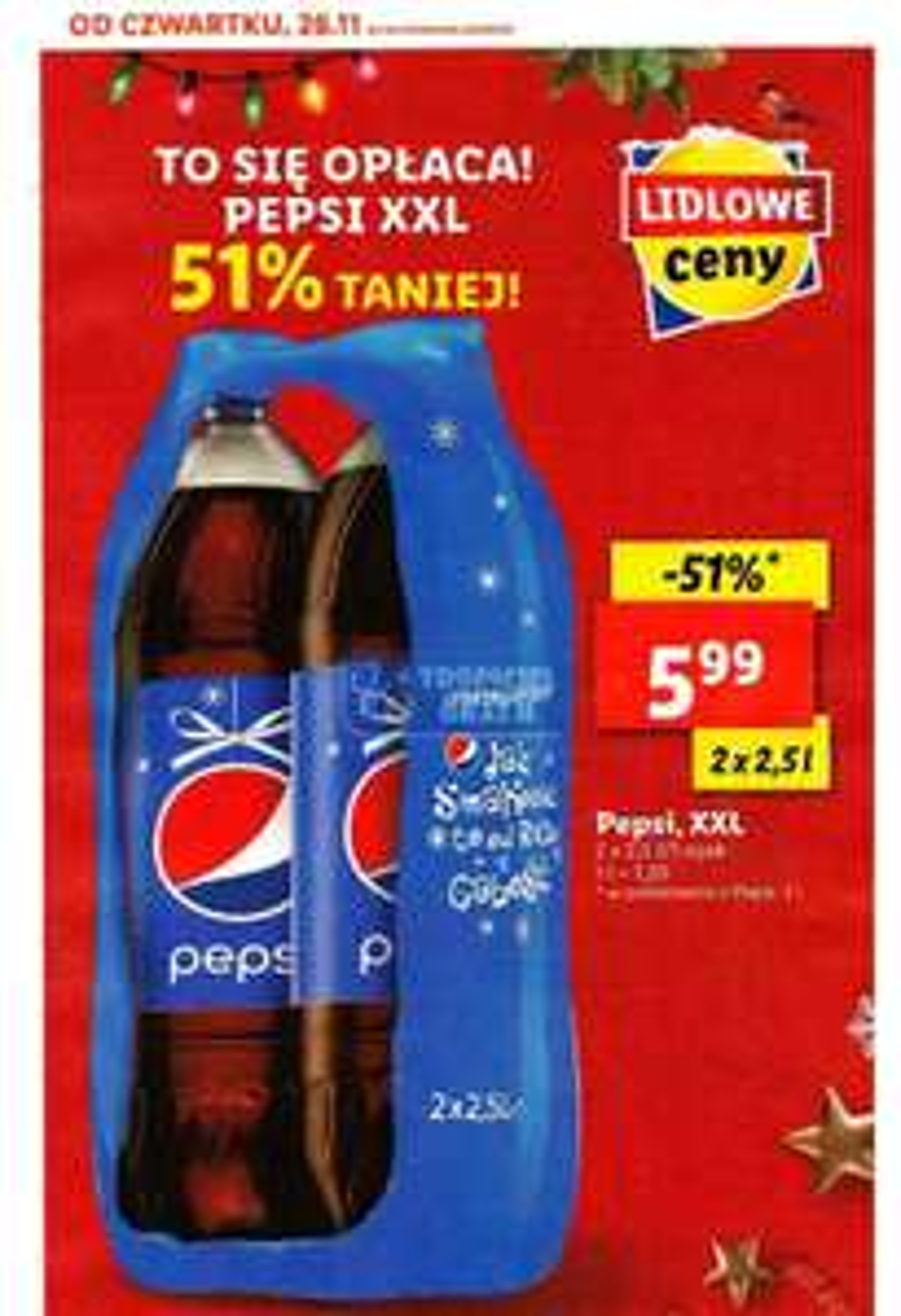 Pepsi za 5,99 2x2,5l (1l =1,20zl) w Lidlu