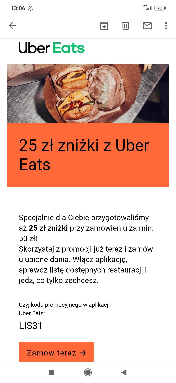 25 ZŁ zniżki Uber Eats (MWZ 50 ZŁ)