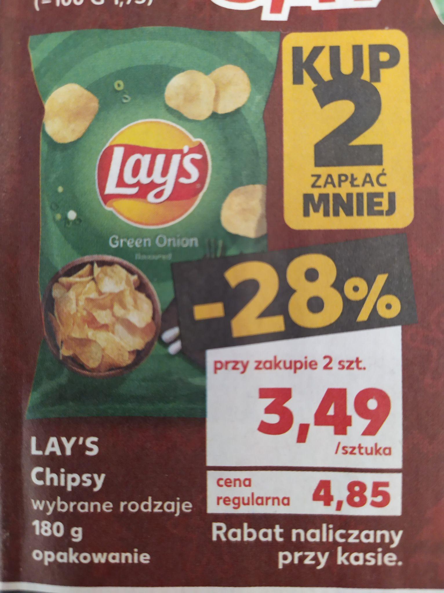 Chipsy Lay's 180g wybrane rodzaje 3,49zł przy zakupie 2 - Kaufland