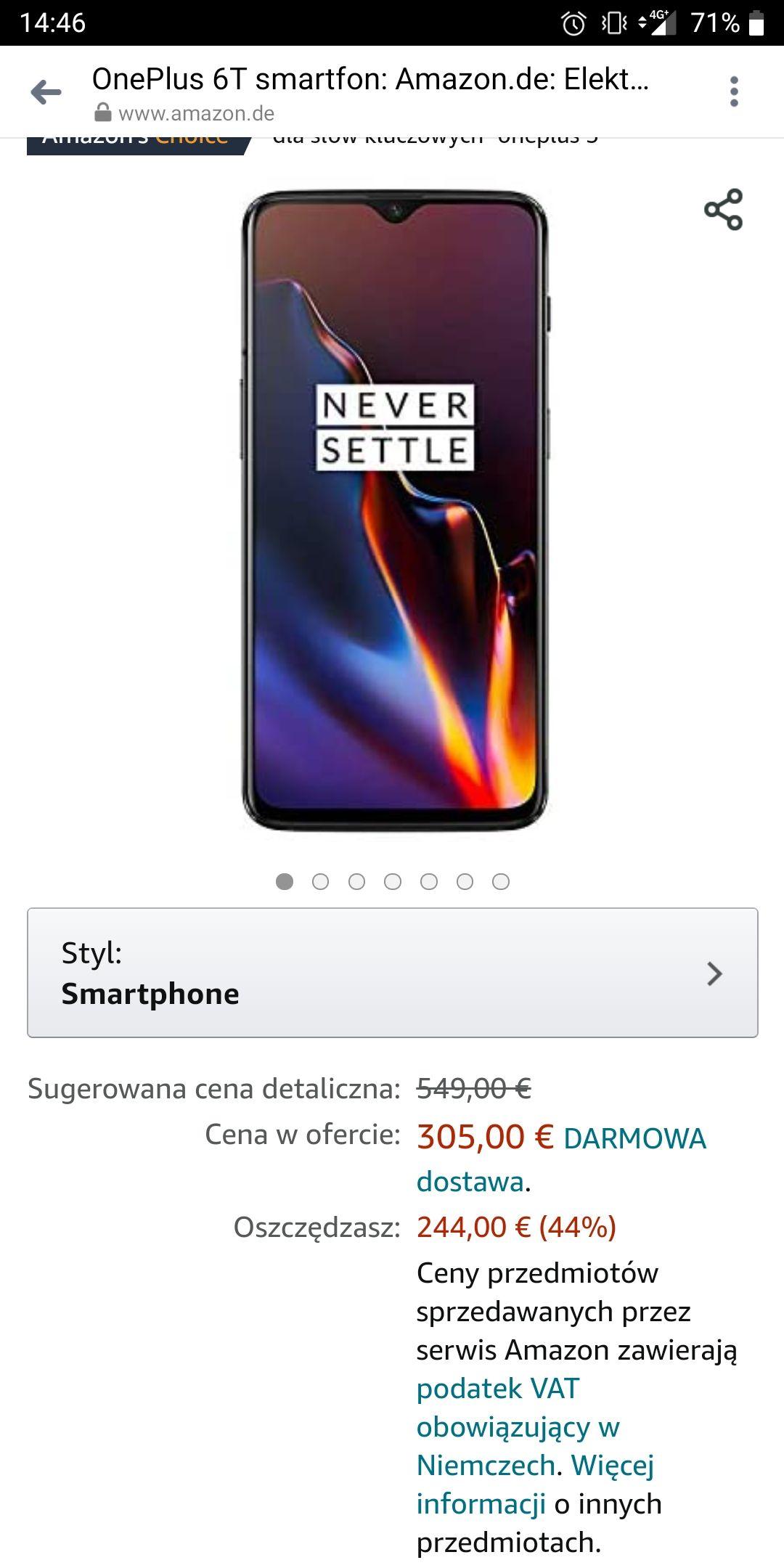 Smartfon OnePlus 6T w dobrej cenie od Amazon, 323,40 €