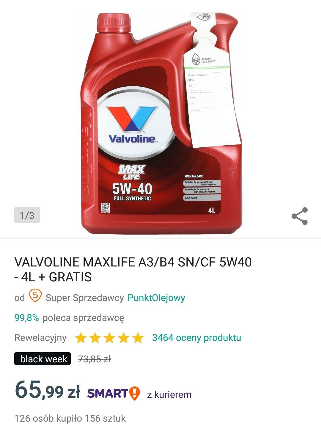 Olej Valvoline MaxLife 5W40