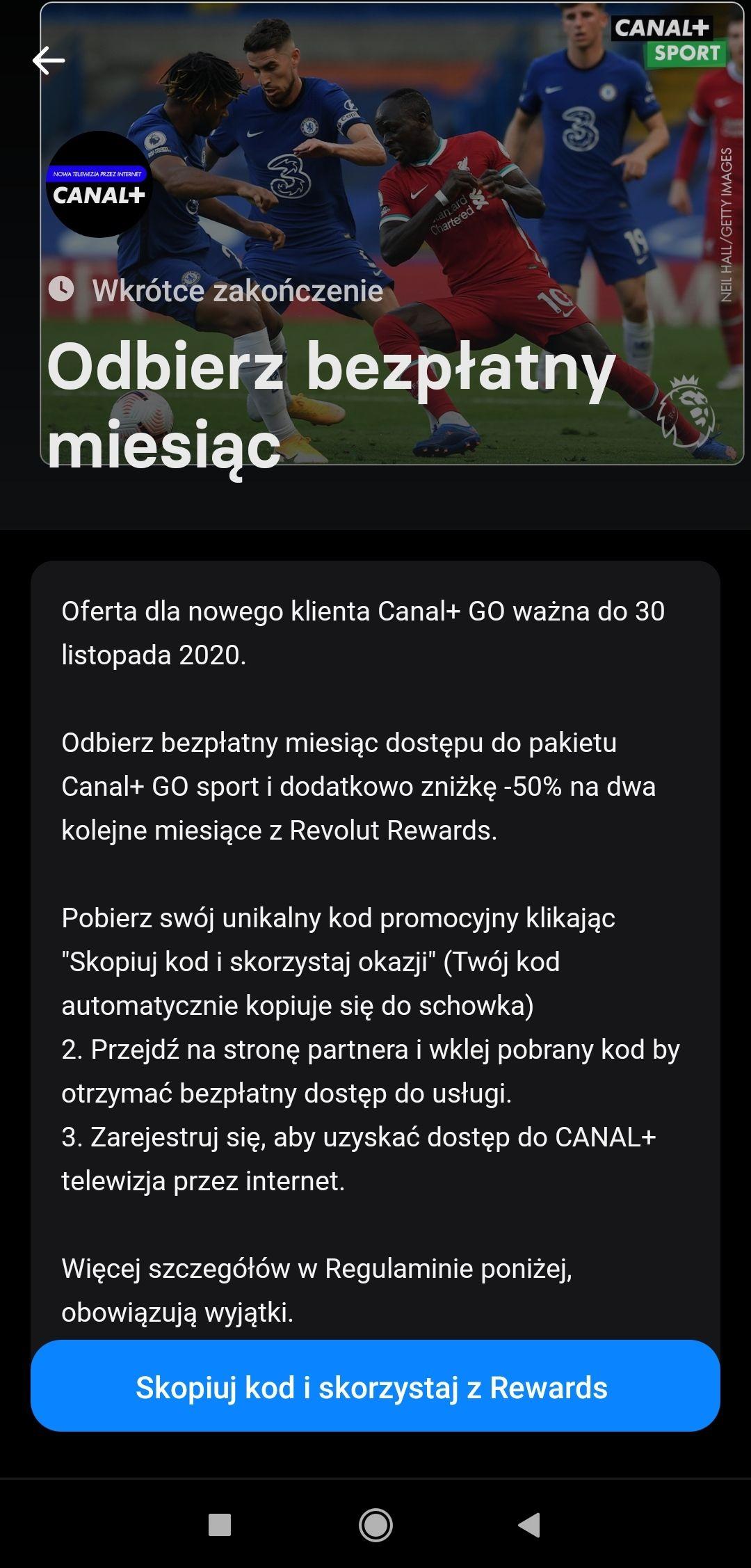 Canal+ Go sport lub film 1 MSC za darmo dla klientów Revolut