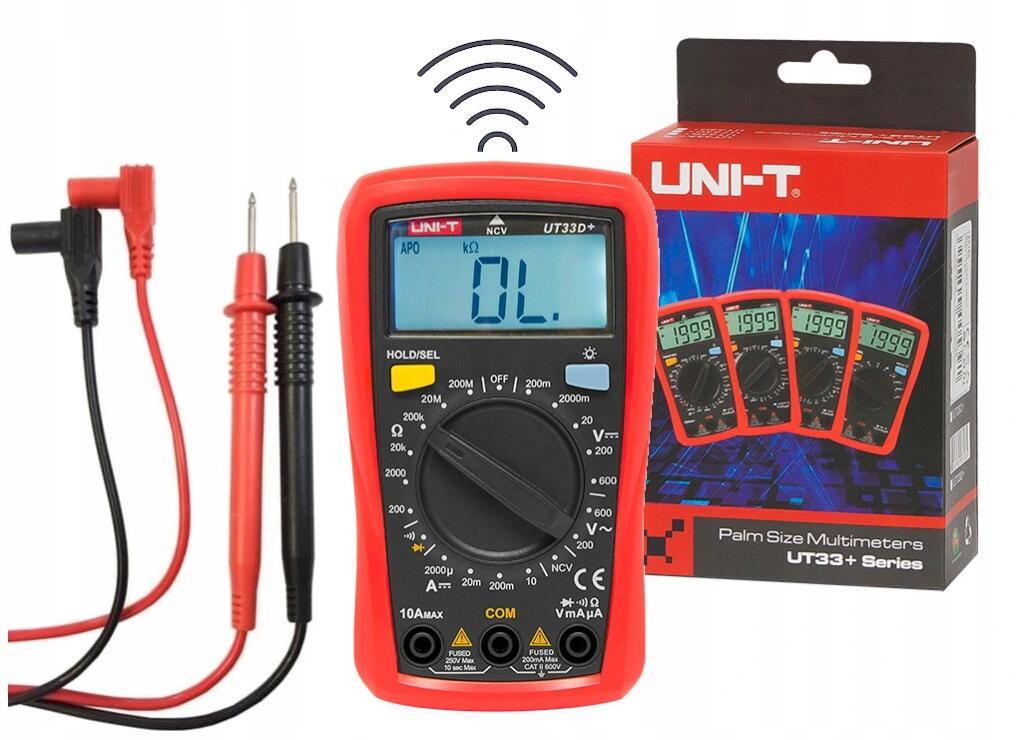 Miernik Uniwersalny UNI-T UT33D+ (WYŻSZY model do 600V i darmowa dostawa SMART) Z DETEKCJĄ BEZPRZEWODOWĄ