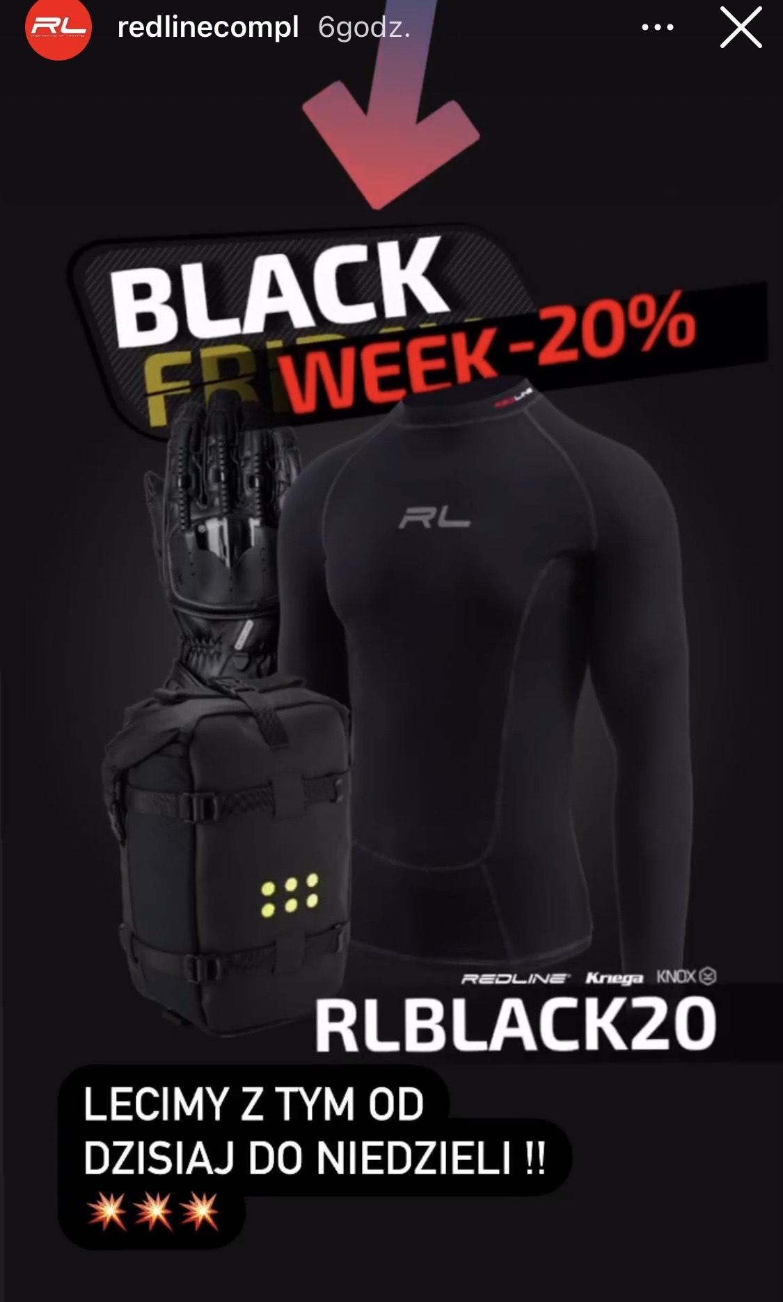 20% rabatu na cała ofertę redline.com.pl (ubrania i akcesoria motocyklowe, termoaktywne)