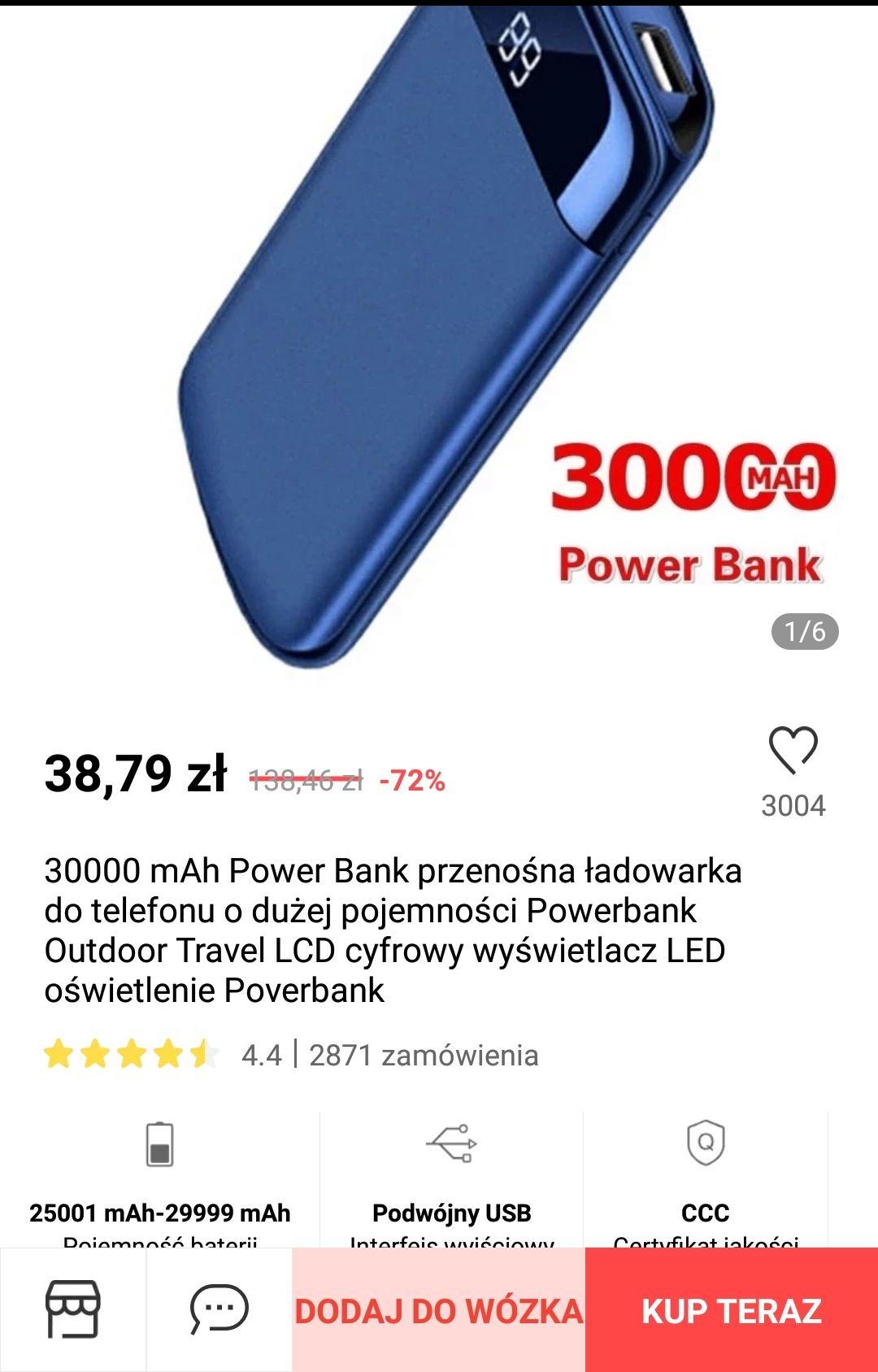Powerbank 30000mAh, pokazany % naładowania,cyfrowy wyświetlacz.
