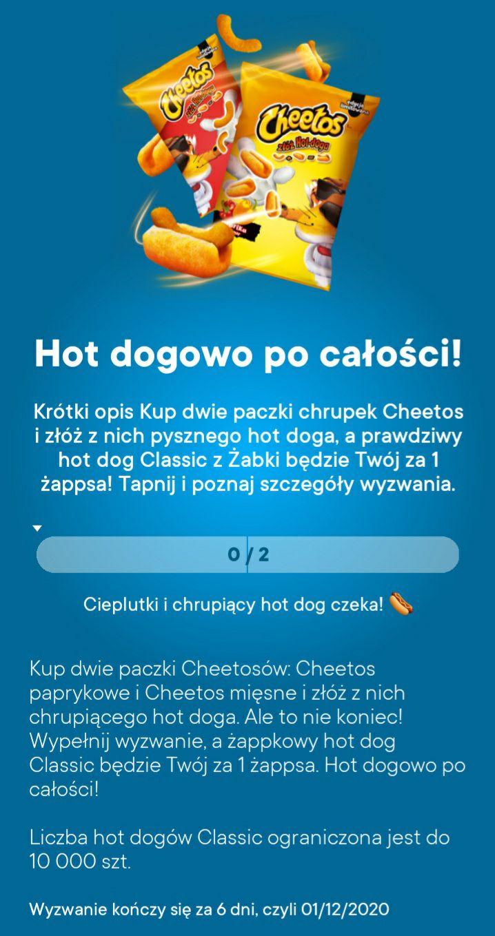 Żabka hot dog classic za 1 żappsa po zakupie 2 paczek cheetos 70-90 g