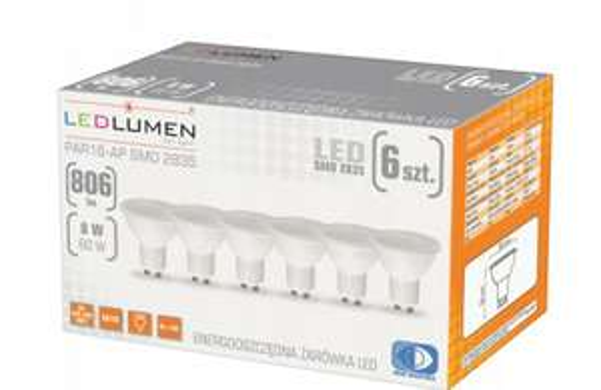 6 żarówek LED GU10 8W 806 lm