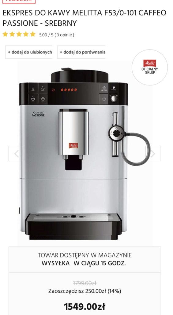Ekspres do kawy Melitta F53/0-101 CAFFEO PASSIONE - Biały